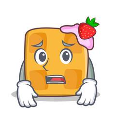 afraid waffle character cartoon design vector image vector image