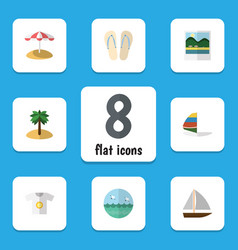 Flat icon season set of clothes yacht surfing vector