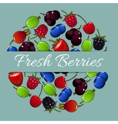 Fresh berries fruit poster vector image vector image