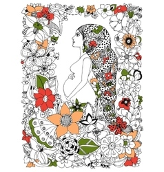 zentangl pregnant woman in a vector image vector image