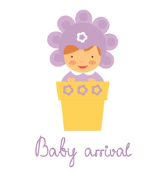 Baby arrival baby in pot vector image