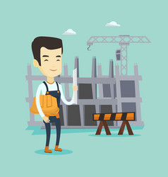 engineer with hard hat and blueprint vector image
