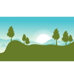 flat of hill with sun landscape vector image vector image