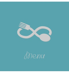 Fork spoon and infinity sign Menu card Flat design vector image vector image