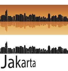 Jakarta skyline in orange background vector image vector image