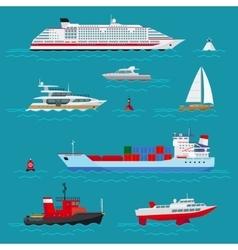 Sea ships flat icons vector image vector image