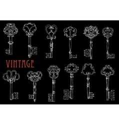 Vintage skeleton keys chalk sketches on blackboard vector image vector image