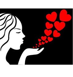 girl blows the hearts vector image vector image