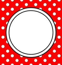 Hand drawn frame with polka dots on red background vector image vector image