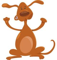 happy playful standing dog cartoon vector image vector image