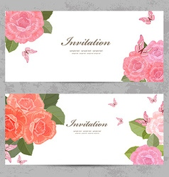 invitation cards with a blossom roses for your vector image vector image