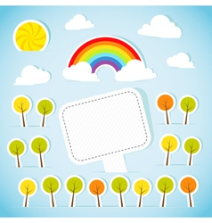 Abstract paper banner with forest and rainbow vector image vector image