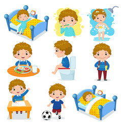 daily routine activities for kids with cute boy vector image