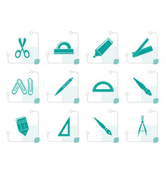 stylized school and office tools icons vector image