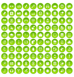 100 mobile app icons set green circle vector