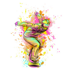 abstract snowboarder from a splash watercolor vector image