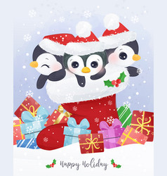 adorable christmas greeting card with penguin vector image