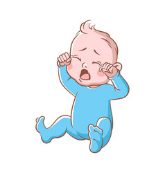 Baby boy crying funny toddler expression vector