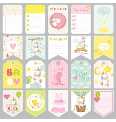 Baby unicorn tags banners scrapbook labels vector