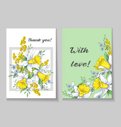 Beautiful spring card with narcissus vector