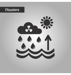 black and white style Radioactive cloud and rain vector image