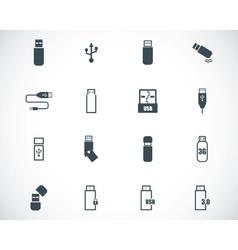 Black usb icons set vector