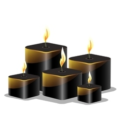 Black wax cylindrical candles with a burning wick vector image