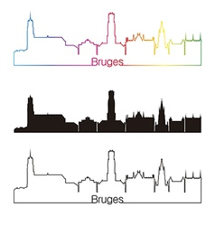 Bruges skyline linear style with rainbow vector