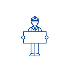 builder with a sign line icon concept builder vector image