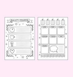 bullet journal pages design templates of vector image