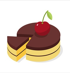 Chocolate cake with fresh cherries Piece of vector image