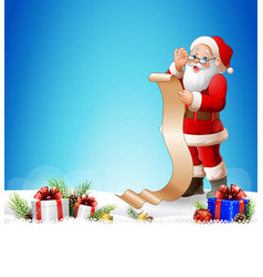christmas background with santa claus reading a lo vector image