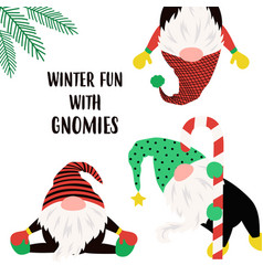 Christmas winter card with funny gnomes vector