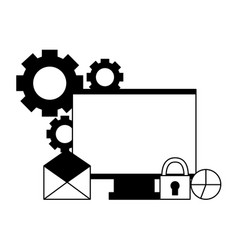 computer email chart security setting vector image