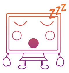 Computer monitor sleep kawaii icon image vector
