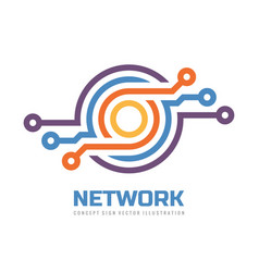 computing network - logo design technology vector image