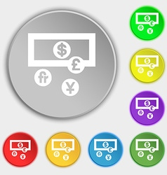 currencies of the world icon sign Symbol on five vector image