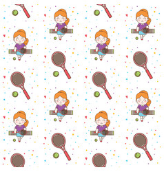 cute girl playing tennis seamless pattern vector image