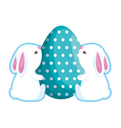cute rabbits couple with easter egg painted vector image