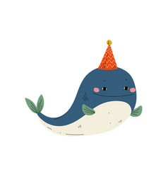 Cute whale wearing party hat lovely animal vector