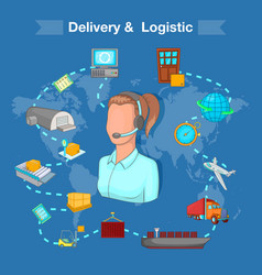 Delivery and logistic concept cartoon style vector