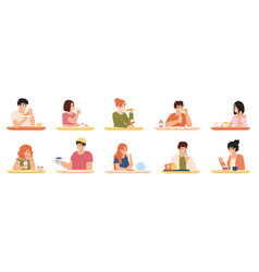 eating characters men and women eating delicious vector image