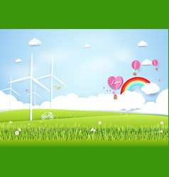 ecology concept with green city and trees paper vector image