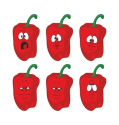 Emotion cartoon red pepper vegetables set 004 vector image