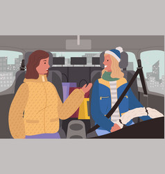 Female friends on winter road trip in car vector