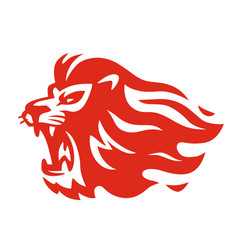 fire lion emblem on white background vector image