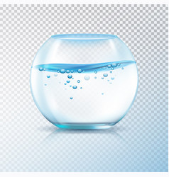 Fish bowl water bubbles transparent vector