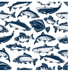 Fishes sketch seamless pattern vector