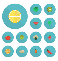 Flat icons love apple root turnip and other vector