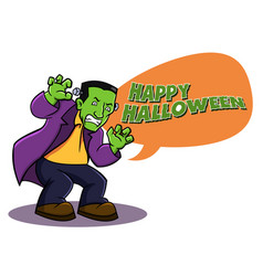 frankenstein say happy halloween vector image